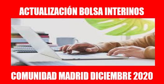 ACTUALIZACIÓN BOLSA INTERINOS COMUNIDAD MADRID DICIEMBRE 2020