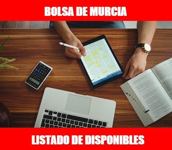 BOLSA DE INTERINOS DE MURCIA: LISTADO DE DISPONIBLES